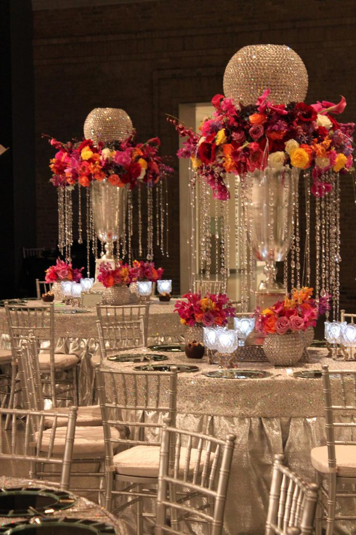 Opulent Wedding Centerpiece with Flowers and Crystal