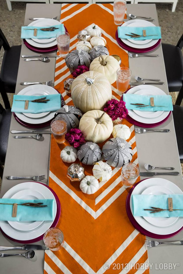 Orange Colored Table Runner for Thanksgiving