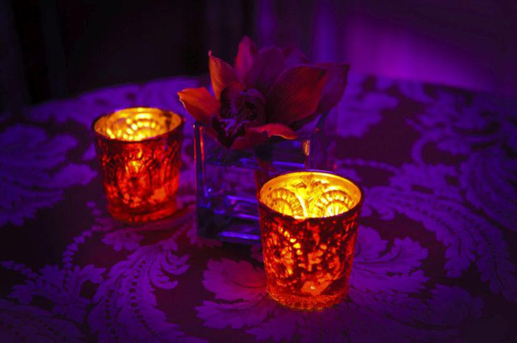 Ornamental candle votive wedding table centerpiece