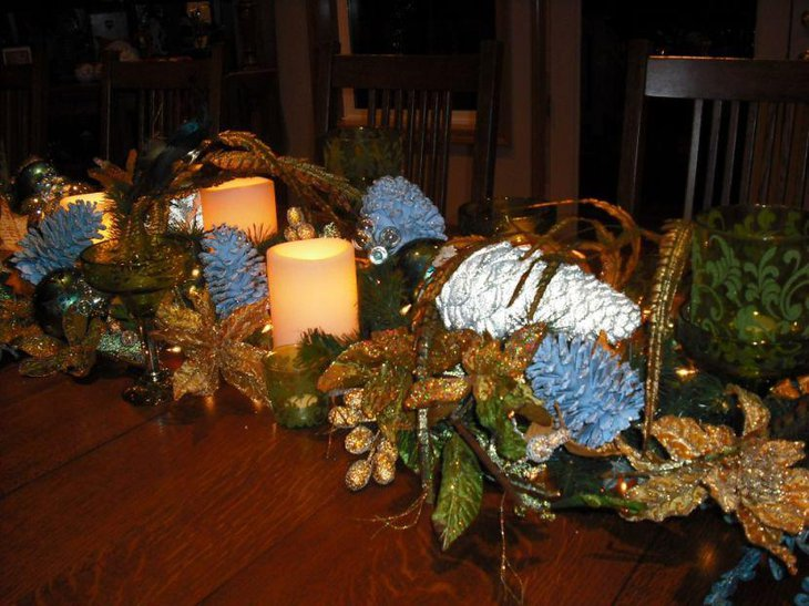Ornamental Christmas Table Centerpiece With DIY Pinecones Glittery Flowers and Candles