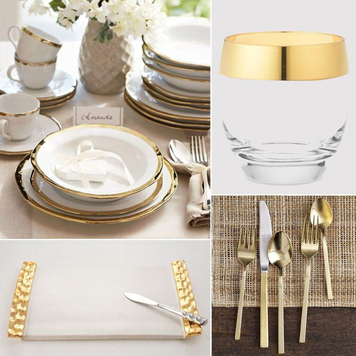 Oscar themed table decorations using golden rimmed accessories