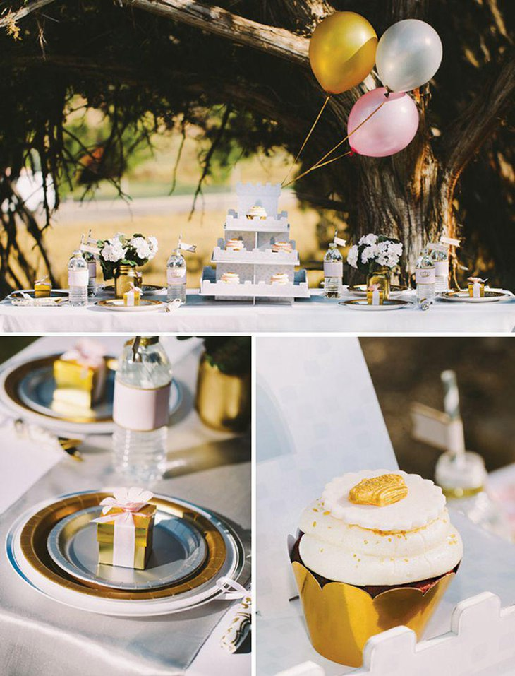 Outdoor 60th Birthday Party Table Decor With Golden Accents