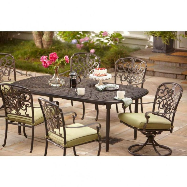 Outdoor Iron Expandable Dining Table
