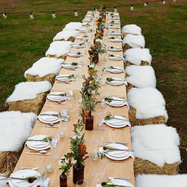Outdoor rustic farm party table setting