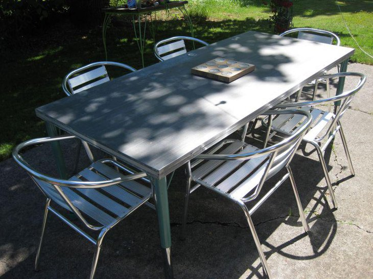 Outdoor Stainless Steel Extendable Dining Table