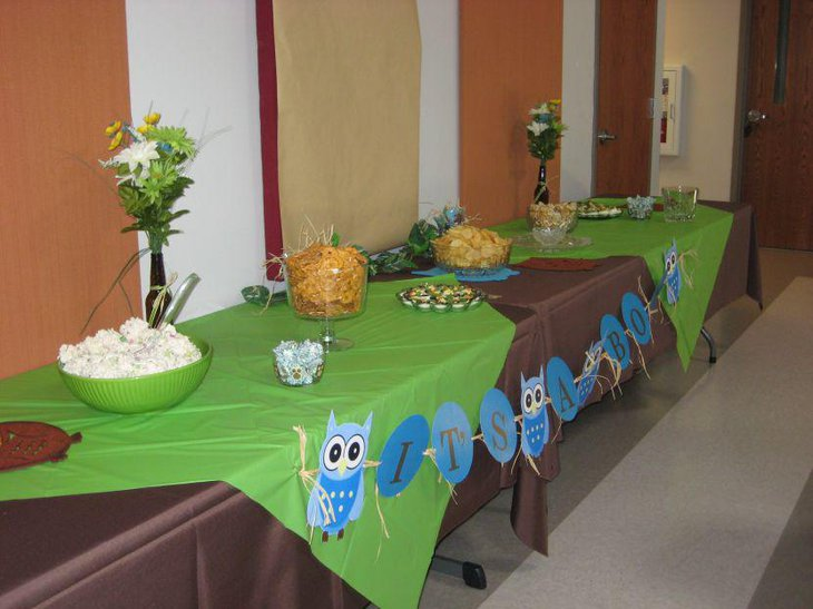 31 cool baby shower ideas for boys table decorating ideas - Owl themed bathroom decor ...