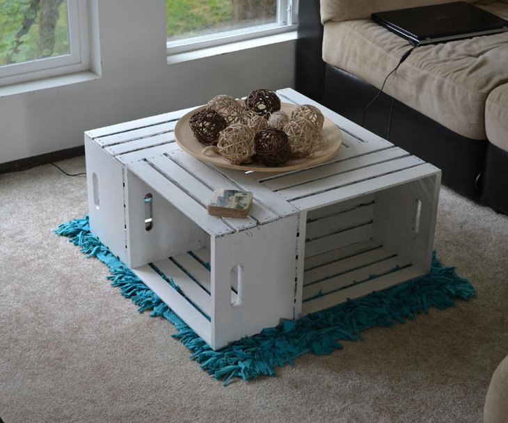 Painted Wine Crate DIY Coffee Table in White