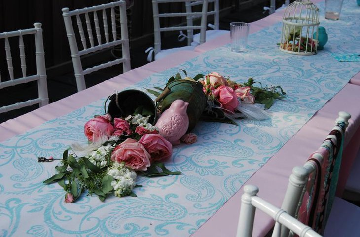 Paisely Printed Table Runner with Bird Centerpiece