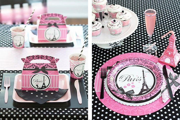 Parisian Themed Pink And Black Adult Birthday Table Decor
