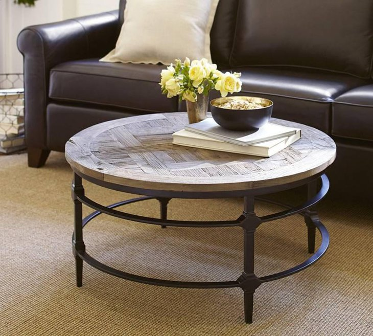 Parquet Round Coffee Table