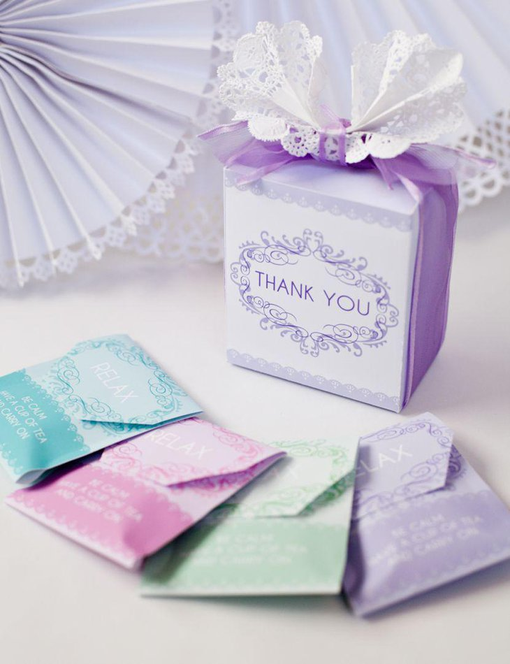Pastel baby shower tea party favors