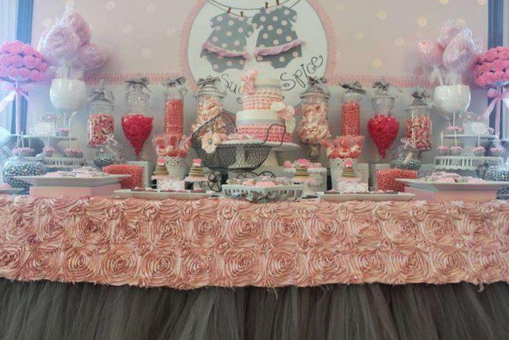 Pastel themed twin girls baby shower table