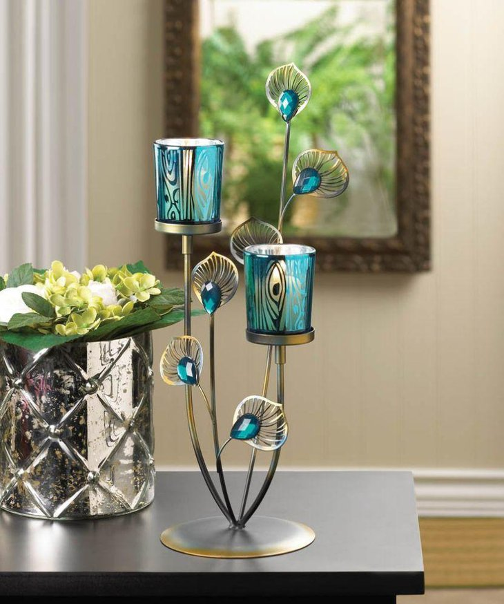 Peacock plume candle tea light holder centerpiece