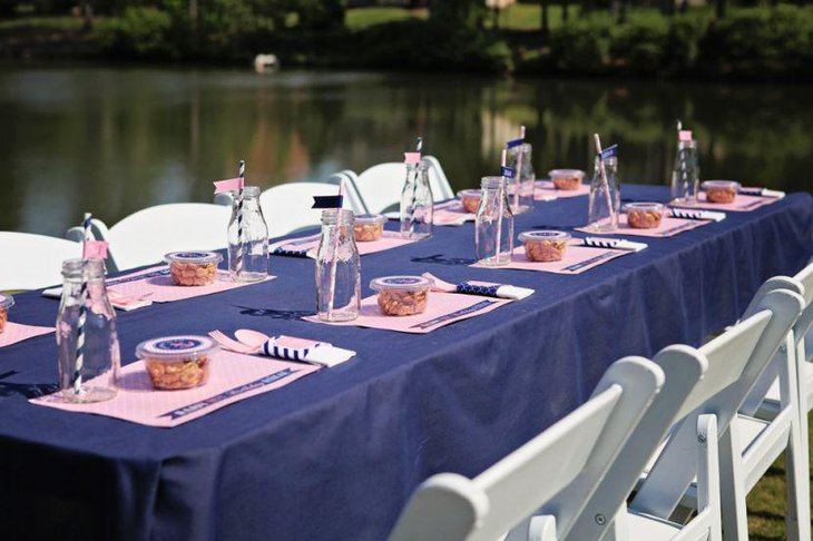 Pink and blue nautical themed baby shower table decor 1