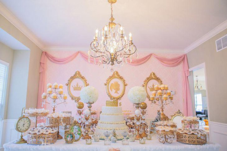 Pink and gold European birthday dessert table