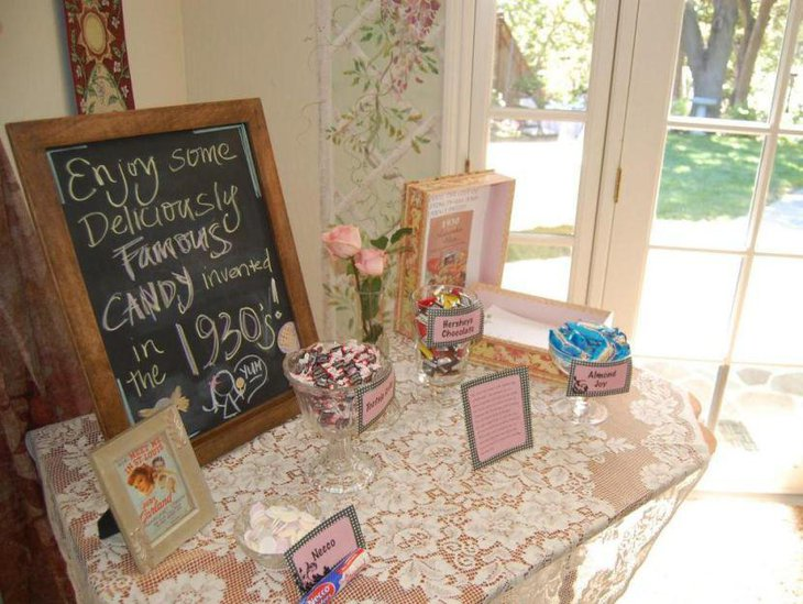 Pink and pastel decorations on grandmas 80th birthday candy table