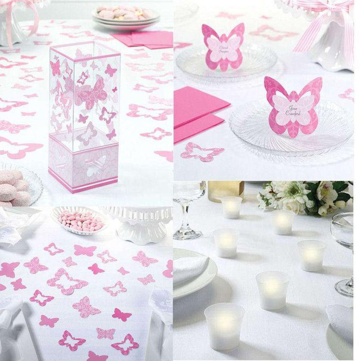 Pink and white butterfly decor on summer birthday table
