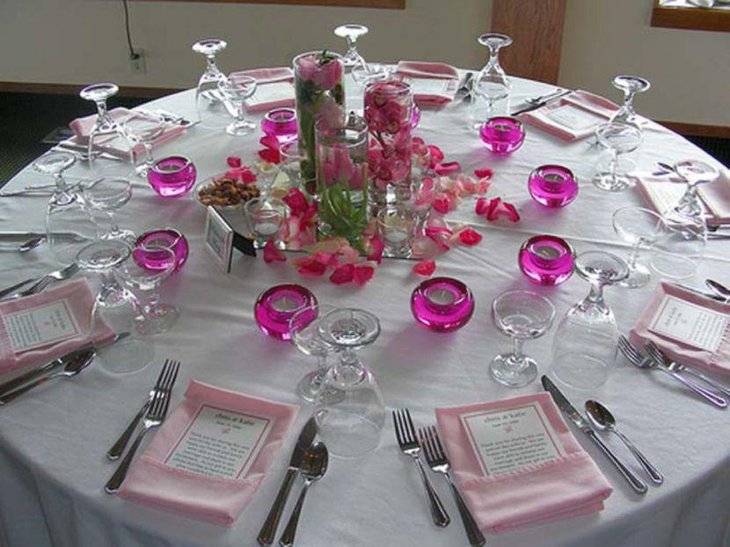 Pink and white DIY wedding table decoration