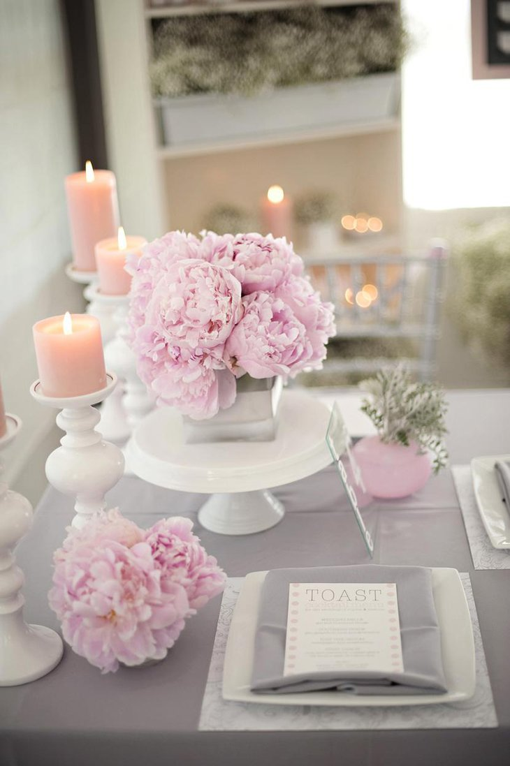 Pink Carnation Table Centerpiece for Bridal Shower