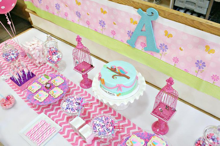 Pink Chevron Table Runners for Girl Baby Showers