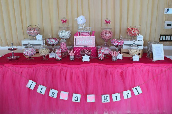 Pink girls baby shower candy tablescape