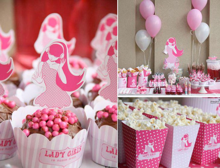 Pink girls brithday table decor
