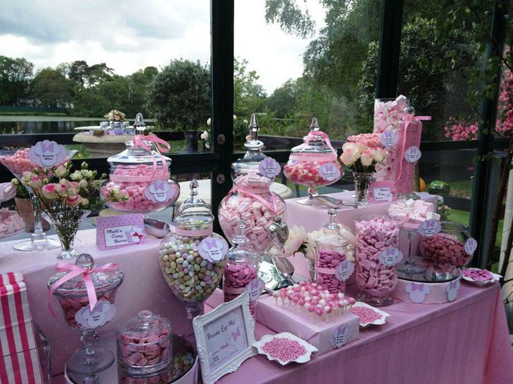 Pink Minnie Mouse candy buffet table decor