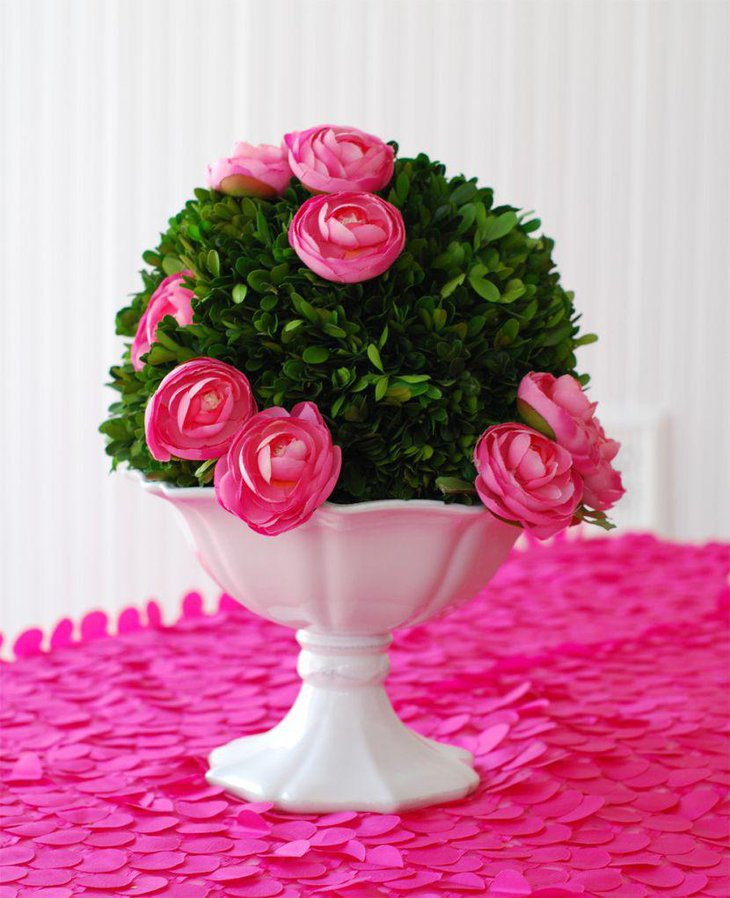 Pink rose centerpiece for Valentines