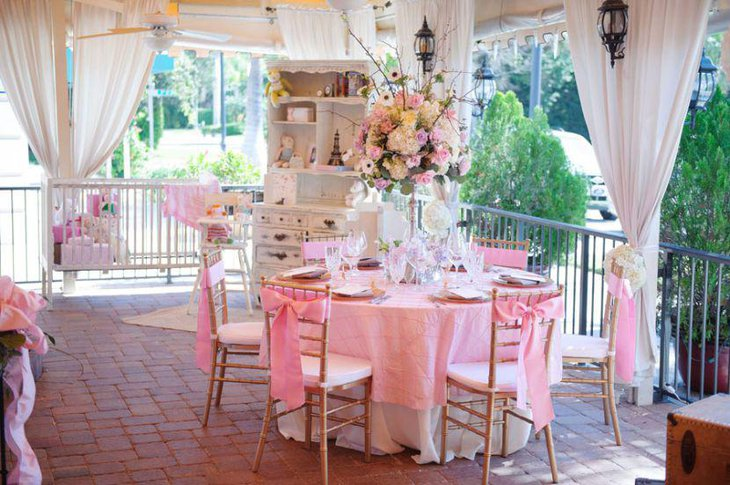 Pink spring themed girl baby shower decor 1