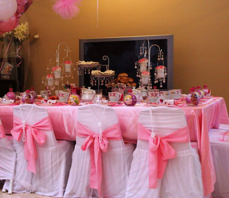 Pink Tea Party Themed Birthday Party Table Decor