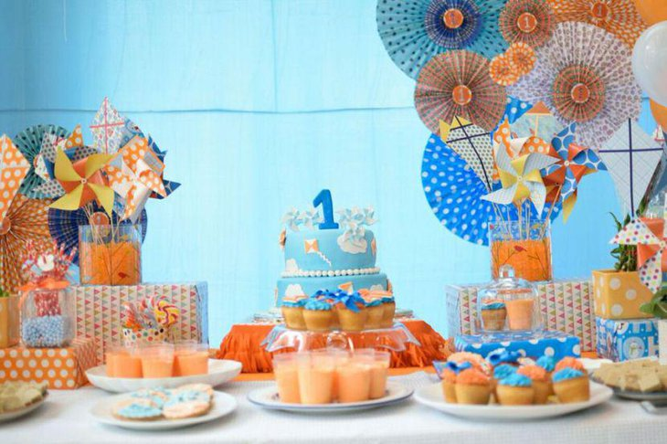 Pinwheel decor on birthday table