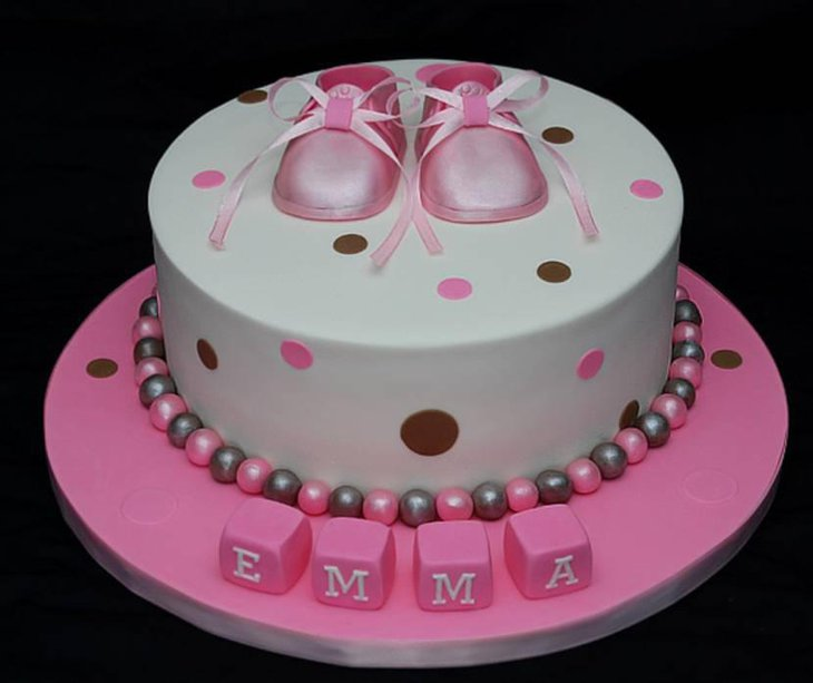 Polka Dotted Baby Shower Cake In Pink White