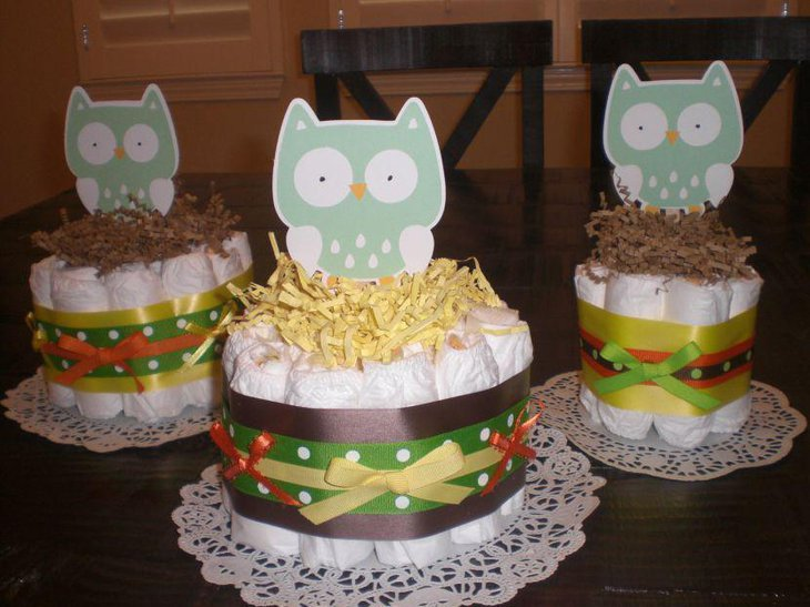 Polka dotted owl diaper cake centerpieces