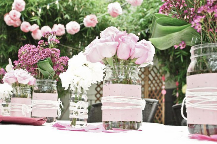 Pretty Pink and White Birdal Shower Centerpiece