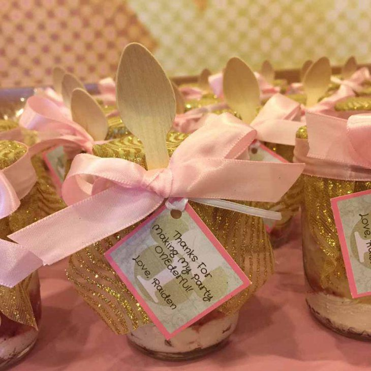 Pretty pink mason jar wedding favors