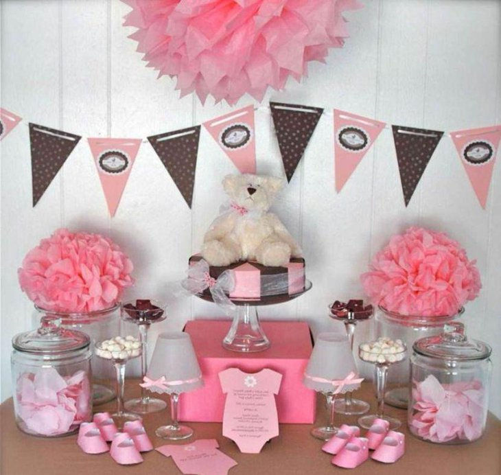Pretty pink twin baby shower themed table
