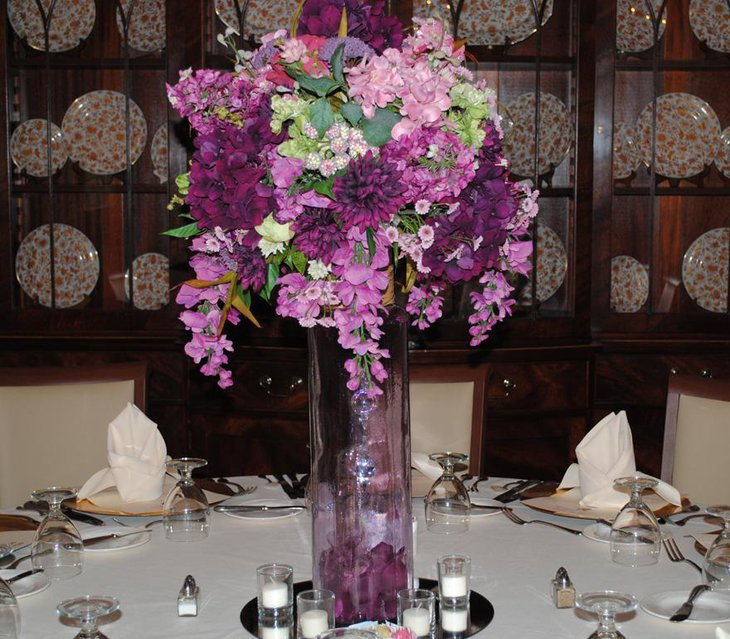 Pretty Purple Floral Wedding Centerpiece