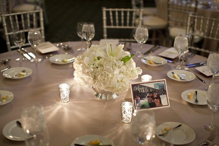 Pretty White Floral Arrangment for ReceptionTable