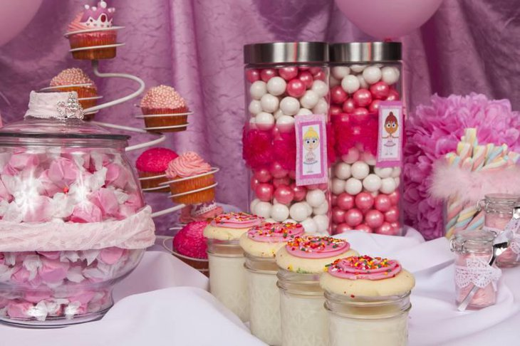 Princess Dessert Table With Candies Filled In Jars
