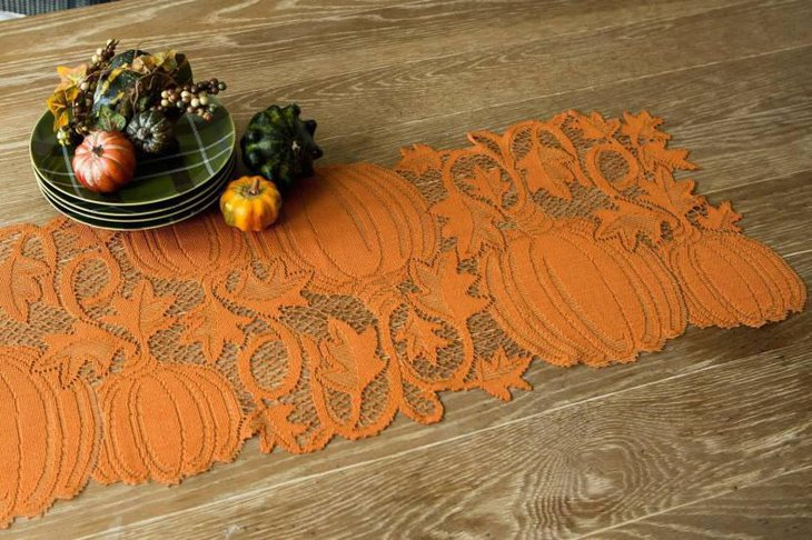 Pumpkin Cutout Lace Table Runner for Thanksgiving