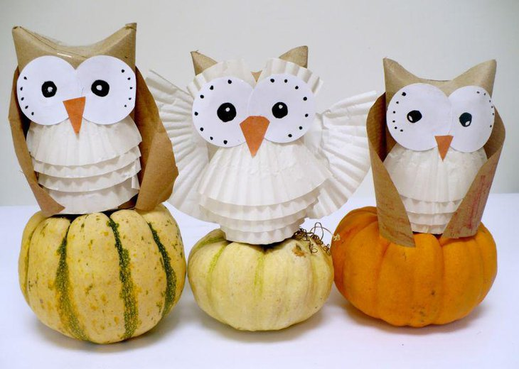 Pumpkin owl centerpieces for baby showers