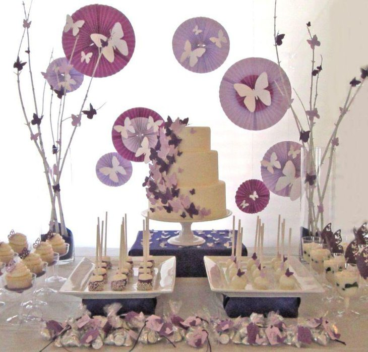 Purple accented butterfly baby shower table