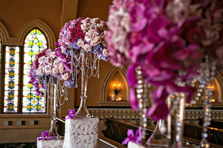 Purple and Pink Flowers with Crystal Centerpiece