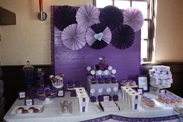 Purple Buffet Table Decor for Bridal Shower
