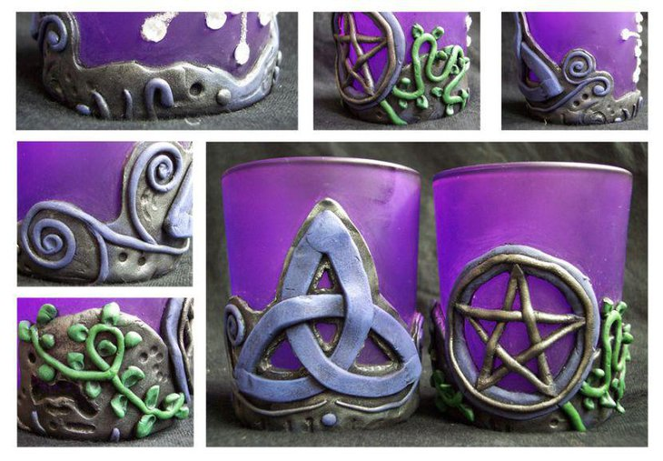 Purple Celtic candle holders for party decorations