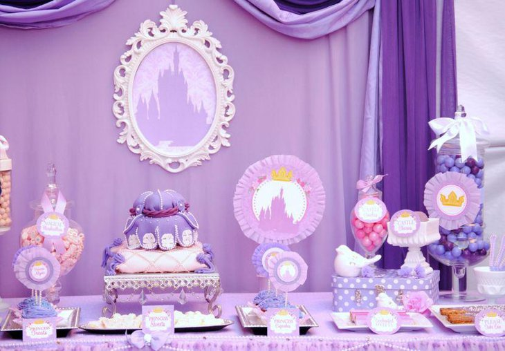 Purple Princess baby shower candy buffet table decor