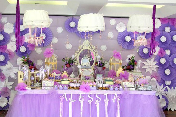 Purple Princess baby shower candy tablescape