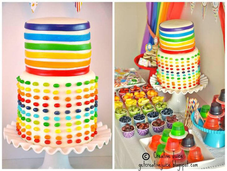 Rainbow Cake Dessert Table