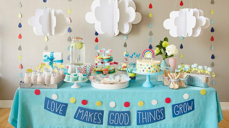 Rainy Shower Blue and Cloudy Spring Shower Ideas for Boys