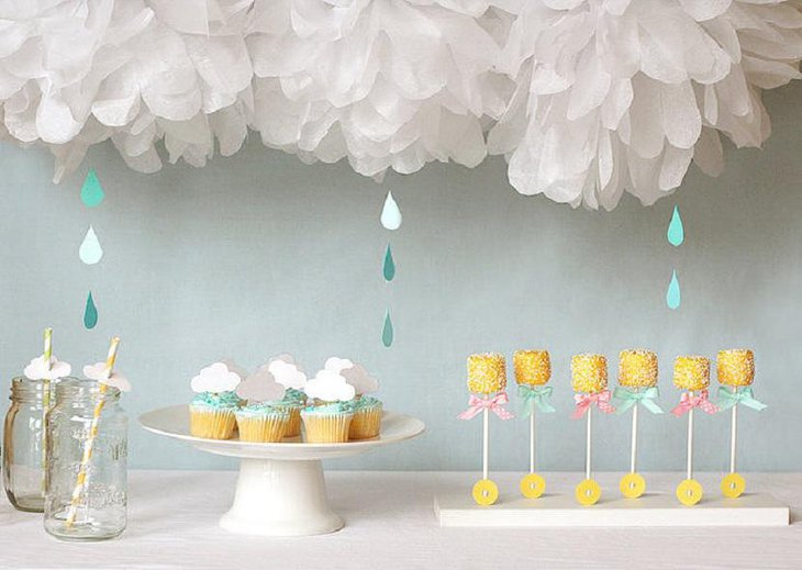 Rainy White Clouds and Yellow Cup Cakes Spring Shower Ideas for Boys